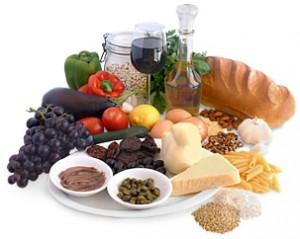 Foods from a Mediterranean diet.